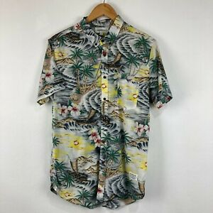 Spencer Project Mens Button Up Shirt Size L Multicoloured Trees Short Sleeve