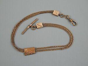 Antique Victorian Rose Gold Filled 2 Strand Floral Slide Pocket Watch Fob Chain