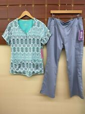 New Healing Hands Gray Print Scrubs Set With Large Top & Large Petite Pants Nwt