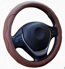 Car Steering Wheel Cover PU Leather Brown Dynamic Fiber Embossed Sport Design