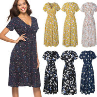 Womens V Neck Holiday Floral Dress Ladies Summer Beach Party Dress Sundress