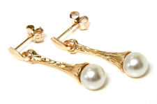 9ct Gold Pearl and flute drop dangly Earrings Gift Boxed Made in UK