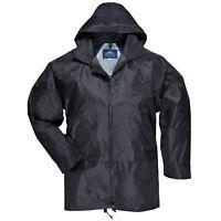 Mens Waterproof Nylon Hooded Zip Up Rain Jacket With Large Hip Pockets XL Black