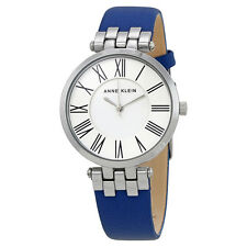 Anne Klein White Dial Blue Leather Ladies Watch 2619SVDB