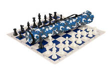 Quiver Chess Set Combination - Triple Weighted - Blue Camo Bag / Royal Blue Boar