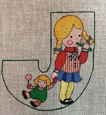 Dede Hand Painted Needlepoint Canvas J Initial Letter Girl Doll Whistle