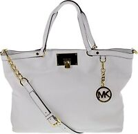 NEW-MICHAEL KORS CHANNING OPTIC WHITE SOFT LEATHER,GOLD,LARGE SHOULDER TOTE,BAG