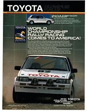 1986 Toyota Corolla FX16 White 2-door At The Olympus Rally VTG PRINT AD