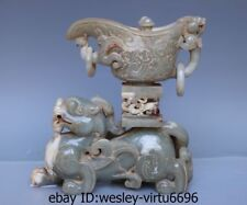 Chinese Natural Old Jade Nephrite Carving Beast Dragon Zun Wine Cup Vase Statue