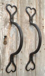 TWO HANDWROUGHT IRON SHAKER HEART DOOR HANDLES AMERICAN FOLK ART DOOR PULL DH1