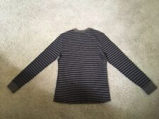 Men's Long Sleeve Thermal Waffle Shirt Sz Small W/ Stripes Gray & Tan By Sonoma