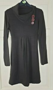 Knit Women's Brown Boat Cowl Neck Stretchy Jumper Dress Top