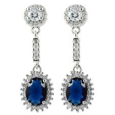 Lady 18K White Gold Plated Cubic Zirconia Oval Cut Blue Sapphire Drop Earrings