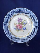 Schwarzenhammer Blue Floral Transfer Reticulated Edge Cabinet Plate Bavaria
