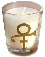 PRINCE CANDLE w/ Gold symbol - Clear GLASS NPG STORE London rare