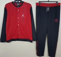 NIKE JORDAN XI RETRO 11 BRED BASKETBALL SUIT JACKET +PANTS BLACK RED NEW (LARGE)