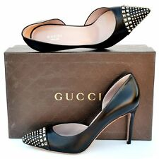 GUCCI New sz 39 - 9 Authentic Designer Studded Womens High Heels Shoes black
