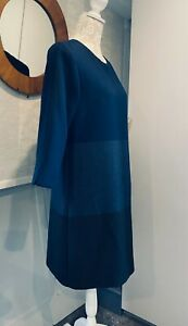 PHASE EIGHT Lined Tunic Shift Dress Block Colour Blue Grey Warm Winter Size 12