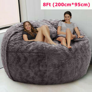 8ft(200*95cm) Giant Fur Bean Bag Bed Cover Bean Bag Chair Soft Bean Bag Cover