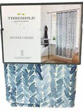 Threshold Blue Leaf Fabric Shower Curtain, Cotton Bath Decor