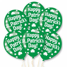 6 x Happy St Patrick's Day Balloons Party Decorations Air or Helium Fill