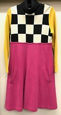 BILL BLASS VINTAGE DRESS BLACK & WHITE CHECKERBOARD HOT PINK YELLOW BLACK