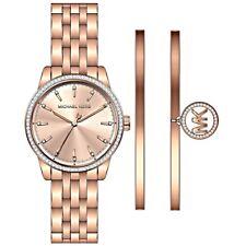 Michael Kors Ladies Ritz Rose Gold-Tone Watch and Bracelet Set  - MK3744
