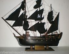 """Wooden Model Pirate Ship Boat Sailing Vessel Black Pearl 31"""" L Weathered Finish"""