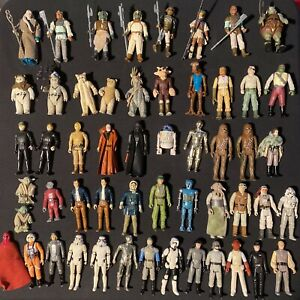 Vintage Star Wars  Lot Of 53 Action Figures In C3PO Case W Weapons 70s & 80s