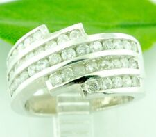 1.45 CT 18k Solid White Gold Cigar Band 5 rows Ladies Diamond RIng Cocktail