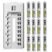 12x EBL 800mAh AAA Rechargeable Batteries + 8 Slot Ni-MH/CD AA Battery Charger