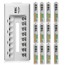 12x EBL 800mAh AAA Rechargeable Batteries + 8 Slot Ni-MH/CD AA Battery Charger