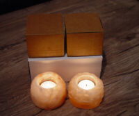 2x Himalayan Salt Candle Light  Holders Rough Genuine Therapeutic Pink Crystal