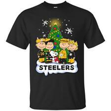 Snoopy The Peanuts P.Steelers Christmas Football NFL Sport Black T-Shirt S-6XL