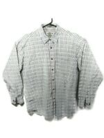 Orvis Checkered Long Sleeve Button Shirt White Blue Green Red Mens Size Large