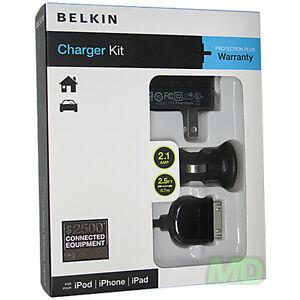Nuevo Belkin Apple IPAD 2 Pared AC Home Dc Coche USB Sync Cargador Kit OEM Ret