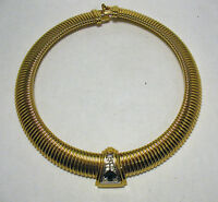 GIVENCHY RUNWAY COUTURE GOLD GREEN CLEAR STONE NECKLACE WIDE VINTAGE 17 INCHES