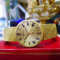 Mens Vintage UNIVERSAL GENEVE 18k Yellow Gold Hand Winding  Ornate Dial Watch