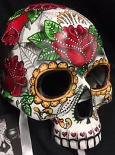Girl Sugar Skull Half Mask Day Of The Dead Dia De Los Muertos Red Roses Candy 42