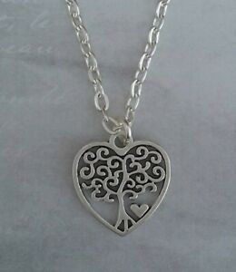 Tibetan Silver TREE OF LIFE - LOVE HEART Pendant with Necklace. GIFT/PRESENT.