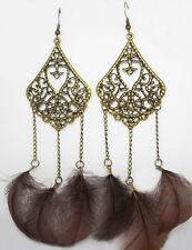 F1302 vogue brown Feather charm chain cute dangle chandelier earrings