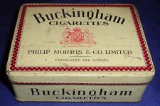 ML300 Vtg Philip Morris & Co. Ltd. Buckingham Cigarettes Hinged Lid Tin 50's