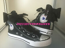 Custom Crystal Diamante Bling Black Party Wedding Converse Size UK 3 4 5 6 7 8 9