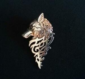 Sterling 925 Solid Silver Unisex Stunning Wolf Head Collar Lapel Tip