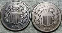 1864 +1871 Two Cent Piece 2cp ---- NICE TYPE LOT ---- #Z280