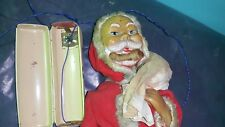 VNTG.ALPS SANTA ON SNOW JOLLY TOY JAPAN 1950 TIN FABRIC PLASTIC BATTERY OPERATED