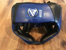 RDX Kids Head Guard Maya Hide Leather Boxing Headgear - Blue
