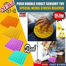 2020 Push Bubble Fidget Sensory Toy Special Needs Stress Reliever Silent AU