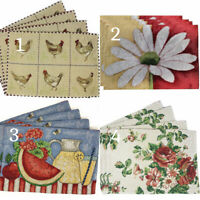 Tache Country Farmhouse Spring Chickens Floral Tapestry Table Placemat Set Of 4