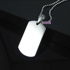 Large Size Titanium Surgical Steel  Engravable Dog Tag Army Pendant Necklace PS3